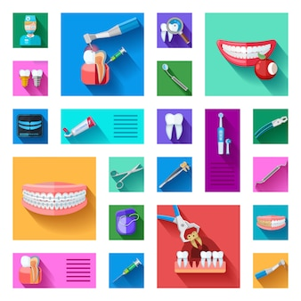 Conjunto de elementos de dentista