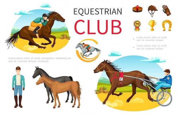Conjunto de elementos de deporte ecuestre de dibujos animados con jinete, caballo, gorro, cepillo, guantes de cuero, medalla, trofeo, herradura