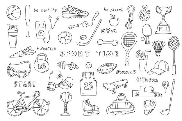 Conjunto de elementos deportivos en estilo doodle blanco y negro.