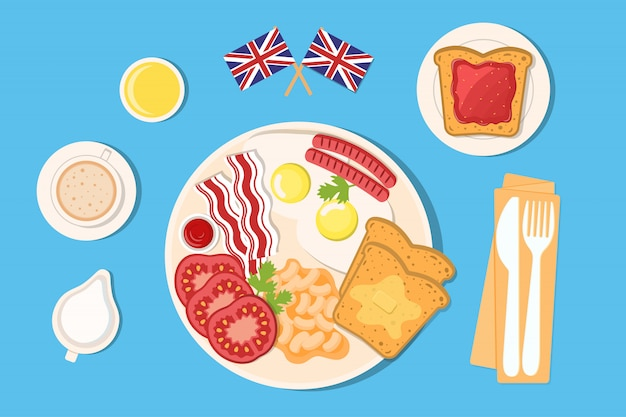 Conjunto de elementos para el desayuno inglés.