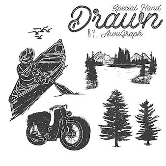 Conjunto de elementos de desierto dibujados a mano