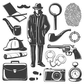 Conjunto de elementos detective vintage