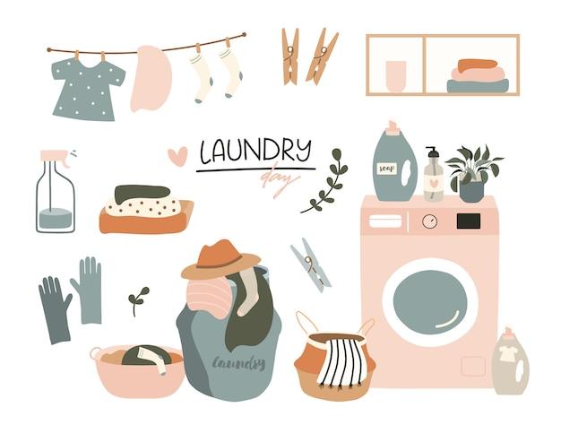 Conjunto de elementos del día de lavandería.