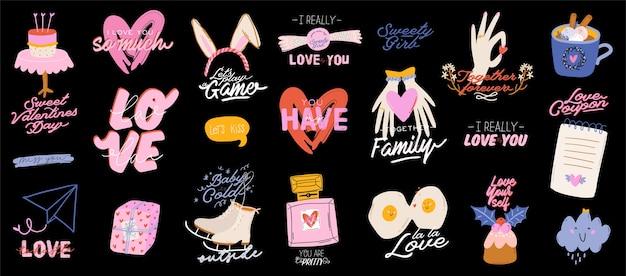 Conjunto de elementos del día de san valentín. elementos románticos y lindos y tipografía encantadora. ilustraciones dibujadas a mano y letras.