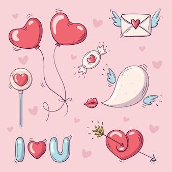 Conjunto de elementos para el día de san valentín en estilo doodle sobre fondo rosa con corazones