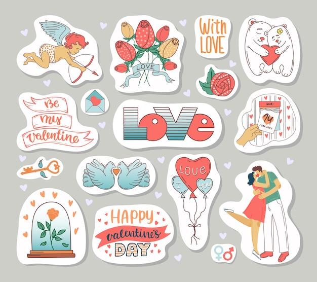 Un conjunto de elementos para el día de san valentín. etiqueta engomada en un estilo de dibujos animados.