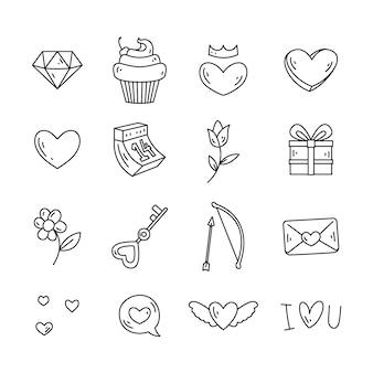Conjunto de elementos del día de san valentín garabatos