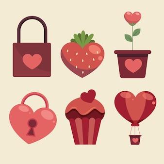 Conjunto de elementos del día de san valentín
