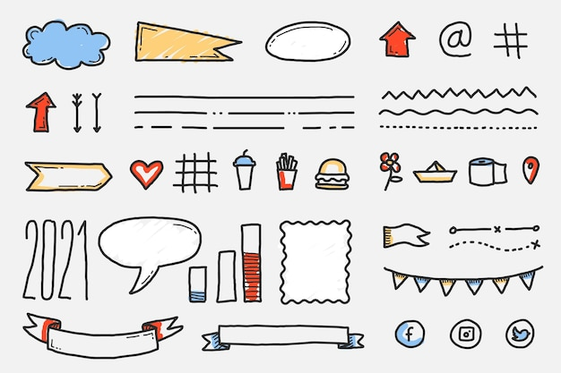 Conjunto de elementos de diario de bala dibujados a mano