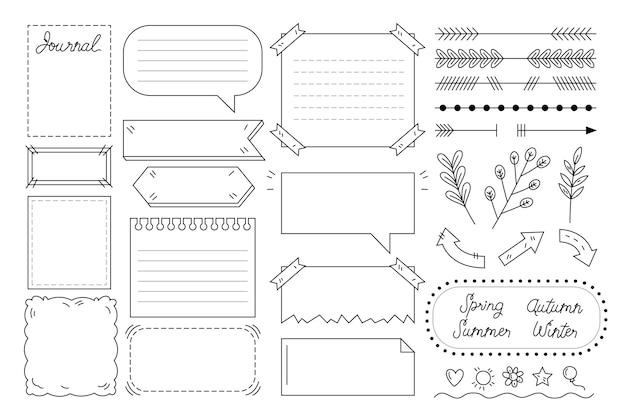 Conjunto de elementos de diario de bala dibujados