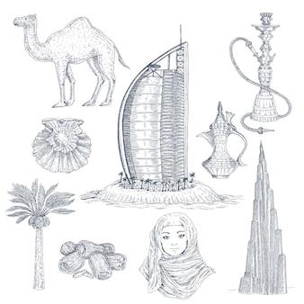 Conjunto de elementos dibujados de dubai
