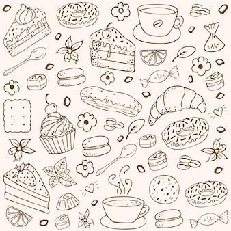 Conjunto de elementos dibujados a mano de café y panadería.