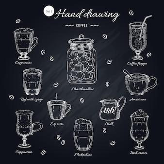Conjunto de elementos dibujados a mano café