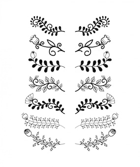 Conjunto de elementos dibujados a mano las fronteras