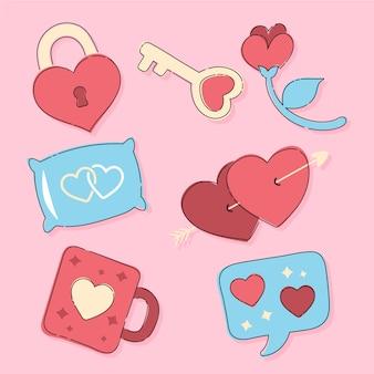 Conjunto de elementos dibujados a mano de san valentín