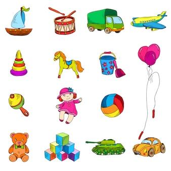 Conjunto de elementos de dibujo de juguetes.