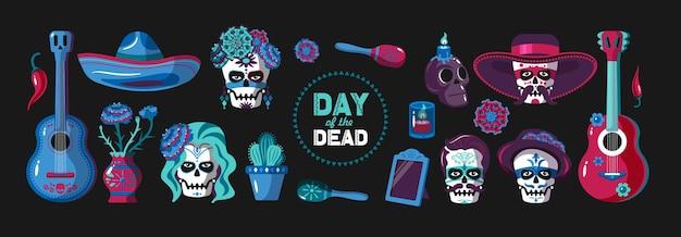 Conjunto de elementos de dibujos animados del día de muertos