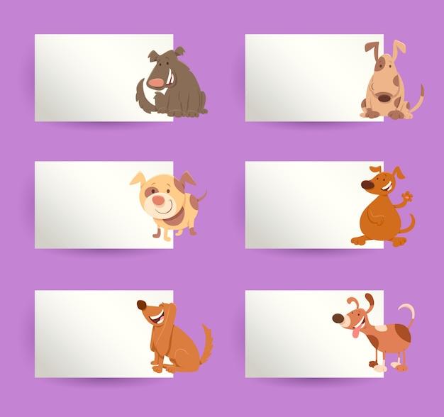 Conjunto de elementos de dibujos animados de perros con tarjetas