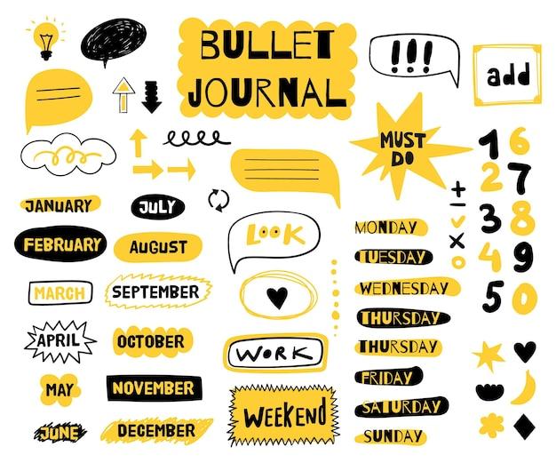 Conjunto de elementos de diferentes bullet journal.