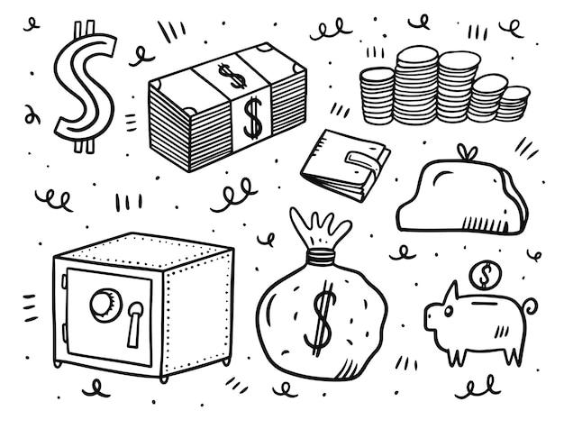 Conjunto de elementos de dinero aislado en blanco