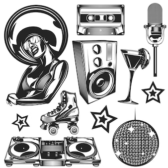 Conjunto de elementos de discoteca