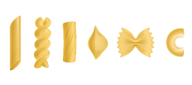 Conjunto de elementos de diseño aislado de pasta