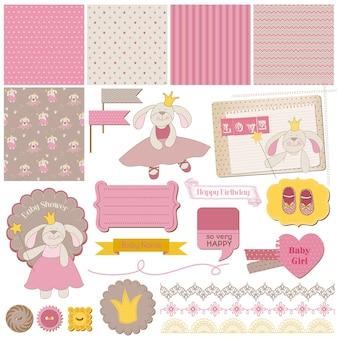 Conjunto de elementos de diseño de álbum de recortes baby bunny girl
