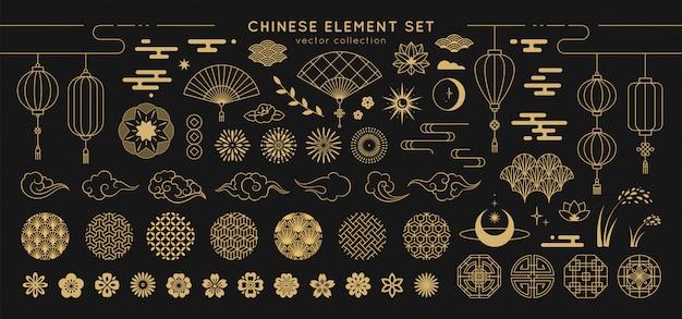 Conjunto de elementos de diseño asiático.