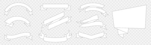 Conjunto de elementos de diseño de banderas y cintas de estilo plano blanco