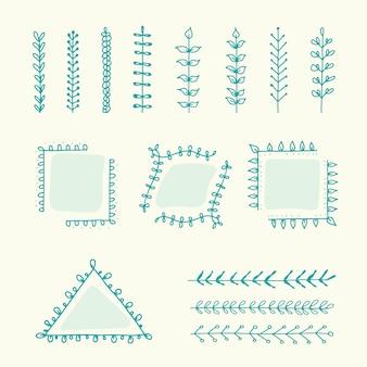 Conjunto de elementos de diseño botánico marco