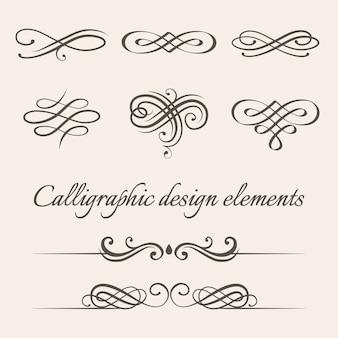 Conjunto de elementos de diseño caligráfico y decoración de página.