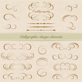 Conjunto de elementos de diseño caligráfico. decoración de la página