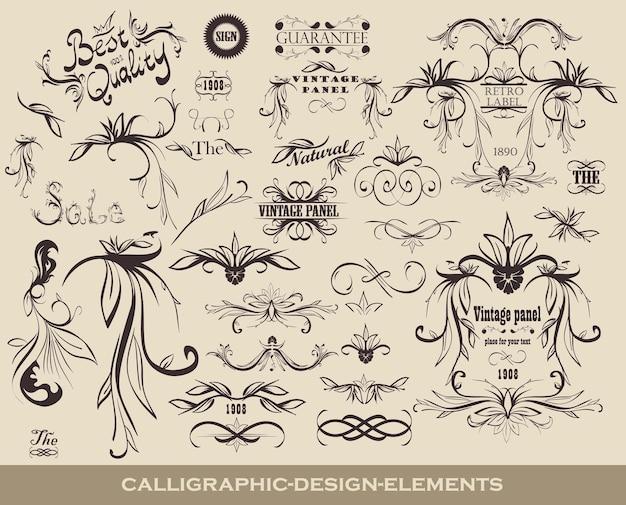 Conjunto de elementos de diseño caligráfico con iconos de calidad y marcos vintage.