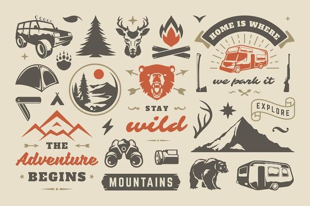 Conjunto de elementos de diseño de campamentos de verano y aventuras al aire libre.