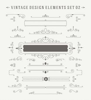 Conjunto de elementos del diseño de las decoraciones de los ornamentos de la vendimia.