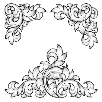 Conjunto de elementos de diseño decorativo de remolino de marco de hoja barroca. grabado floral, motivo de patrón de moda,