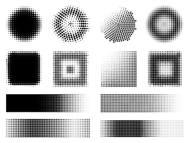 Conjunto de elementos de diseño de efectos de semitono monocromo