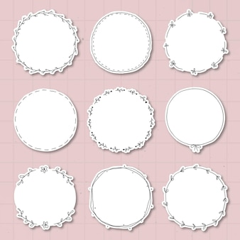 Conjunto de elementos de diseño de etiqueta engomada del diario frondoso del doodle