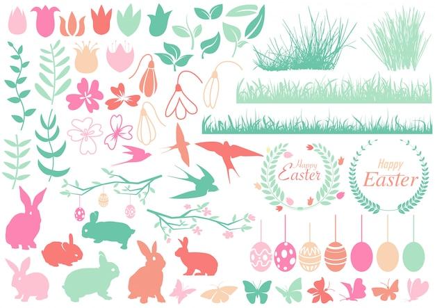 Conjunto de elementos de diseño feliz pascua