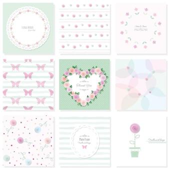 Conjunto de elementos de diseño floral