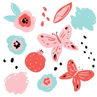 Conjunto de elementos de diseño. formas abstractas, flores, granada y mariposas. estilo plano moderno, diseño de memphis. ilustración de vector dibujado a mano. aislado sobre fondo blanco.