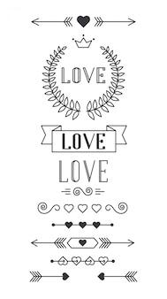 Conjunto de elementos de diseño forrado para el día de san valentín