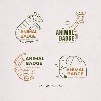 Conjunto de elementos de diseño de insignia animal