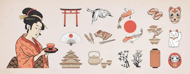 Conjunto de elementos de diseño japonés. ilustración de mujer geisha.
