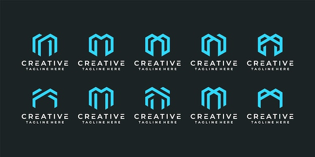 Conjunto de elementos de diseño de logotipo de letra m de tecnología minimalista elegante