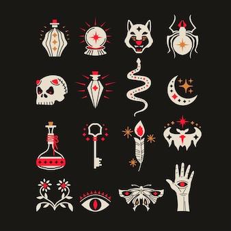 Conjunto de elementos de diseño de mago brujo