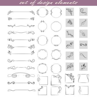 Un conjunto de elementos de diseño, marcos, separadores, bordes.