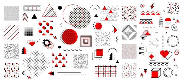 Conjunto de elementos de diseño de memphis