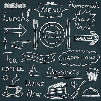 Conjunto de elementos de diseño de menú de pizarra