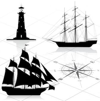 Conjunto de elementos de diseño náutico.